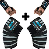 Knee Wraps (Pair) and Wrist Wraps (Pair) for Squats - Cross Training, Gym Workout, Weightlifting, Fitness & Powerlifting - Compression & Elastic Support - Knee Strap - Leg Wraps - Knee Support (Color: GREY)
