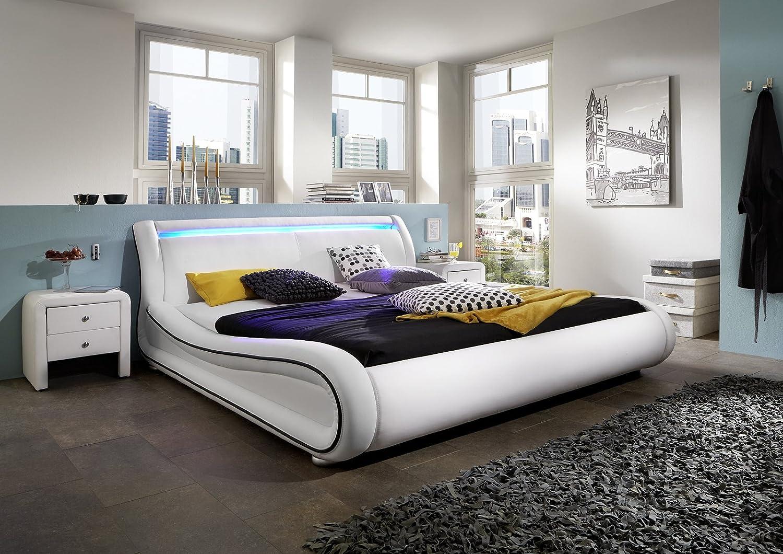 Design Lederbett 200 x 200cm weiß schwarz mit LED Leiste online bestellen