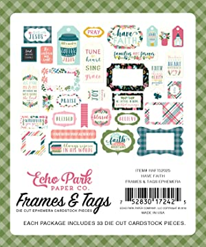 Echo Park Paper Company HAF152025 This  Have Faith Frames & Tags,  Purple, Pink, Mint Green, Teal, Coral (Color: Purple, Pink, Mint Green, Teal, Coral)