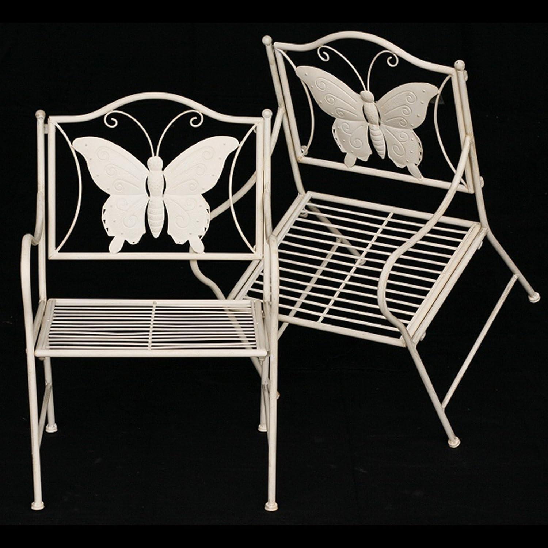 Kindersitzgruppe Kinder Gartenmöbel Metall Schmetterling weiß antik Hof Terrasse bestellen