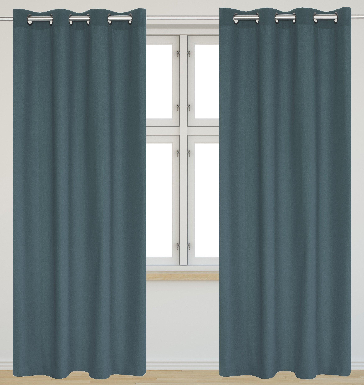 Faux Cotton 54 X95 In Karma Grommet 2 Piece Curtain Set Slate Blue Ebay