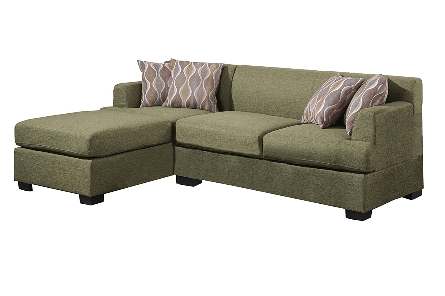 Poundex Bobkona Winfred Blended Linen 2-Piece 3-Seat Reversible Sectional Sofa - Peridot