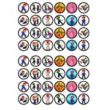 48 Super Mario Bros Edible PREMIUM THICKNESS SWEETENED VANILLA, Wafer Rice Paper Cupcake Toppers/Decorations