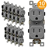 ENERLITES Duplex Outlet, Tamper-Resistant Receptacles, Industrial Grade, 3-Wire Grounding, 2-Pole, 5-15R, 15A 125V, UL Listed, 61570-TR-GY-10PCS, Gray (10 Pack) (Color: Gray 10 Pack 15A Industrial)