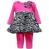 Rare Editions Baby/NEWBORN 2-Piece FUCHSIA-PINK BLACK WHITE ZEBRA PRINT BUTTON FLOWER Special Occasion Girl Party Dress/Legging Set