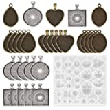 30 Pieces 5 Styles Pendant Trays- Round & Square & Heart & Teardrop & Oval,and 1 Pcs Silicone Resin Jewelry Casting Molds for Pendant Crafting DIY Jewelry Gift Making (Color: Silicone Resin Pendant Trays)