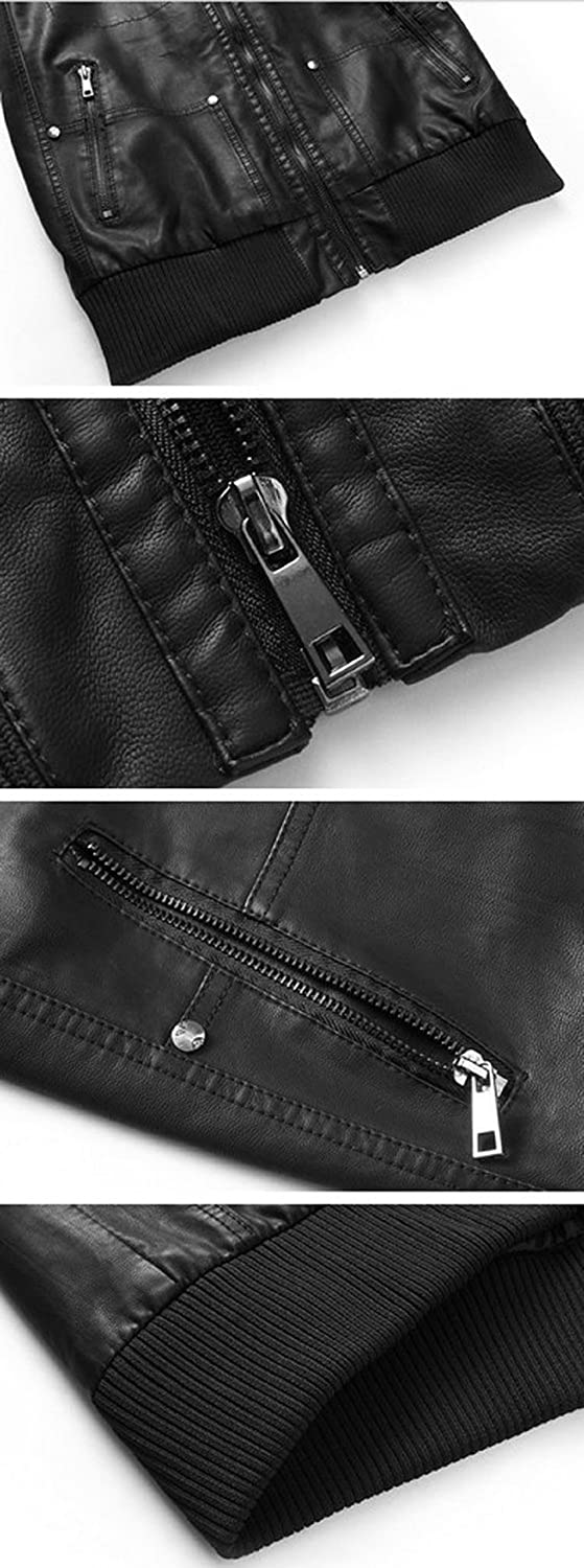 Wantdo Men's Fashion Faux Jackets Pu Leather Jackets With Removable Hood With Gift Men s Fashion Faux Pu Jackets