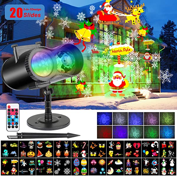 LED Christmas Projector Lights 2-in-1 Ocean Wave Moving Patterns Projector Light with 20 Replaceable Slides 10 Wave Colors Waterproof Indoor Outdoor Theme Party Light for Halloween Xmas Home Birthday (Color: 2-in-1 Christmas Projector)