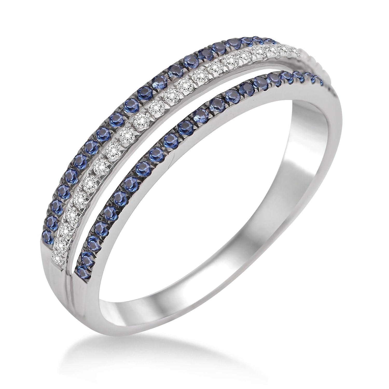 Miore Damen-Ring 375 Weißgold mit Brillanten und Saphir MP9002RM