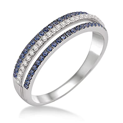Miore MP9002RM Sapphire Ring, 9 ct White Gold, Diamond Setting