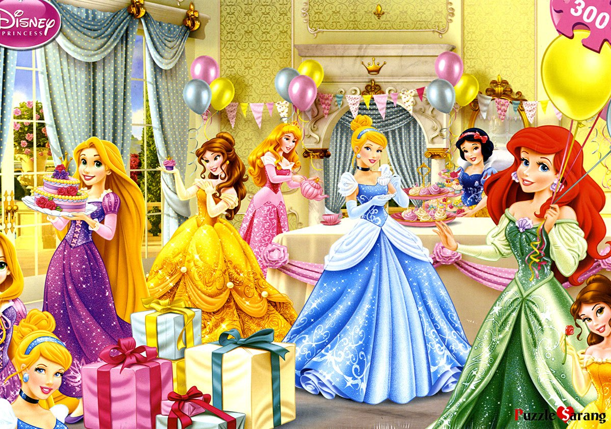 Disney Princess Party Jigsaw Puzzle with Cinderella Rapunzel Ariel Belle Aurora and Snow White