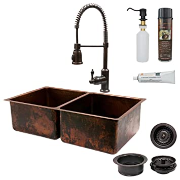 Premier Copper Products K50DB33199 33-Inch Kitchen 50/50 Double Basin Sink with Spring Pull Down Faucet Package, Oil Rubbed Bronze