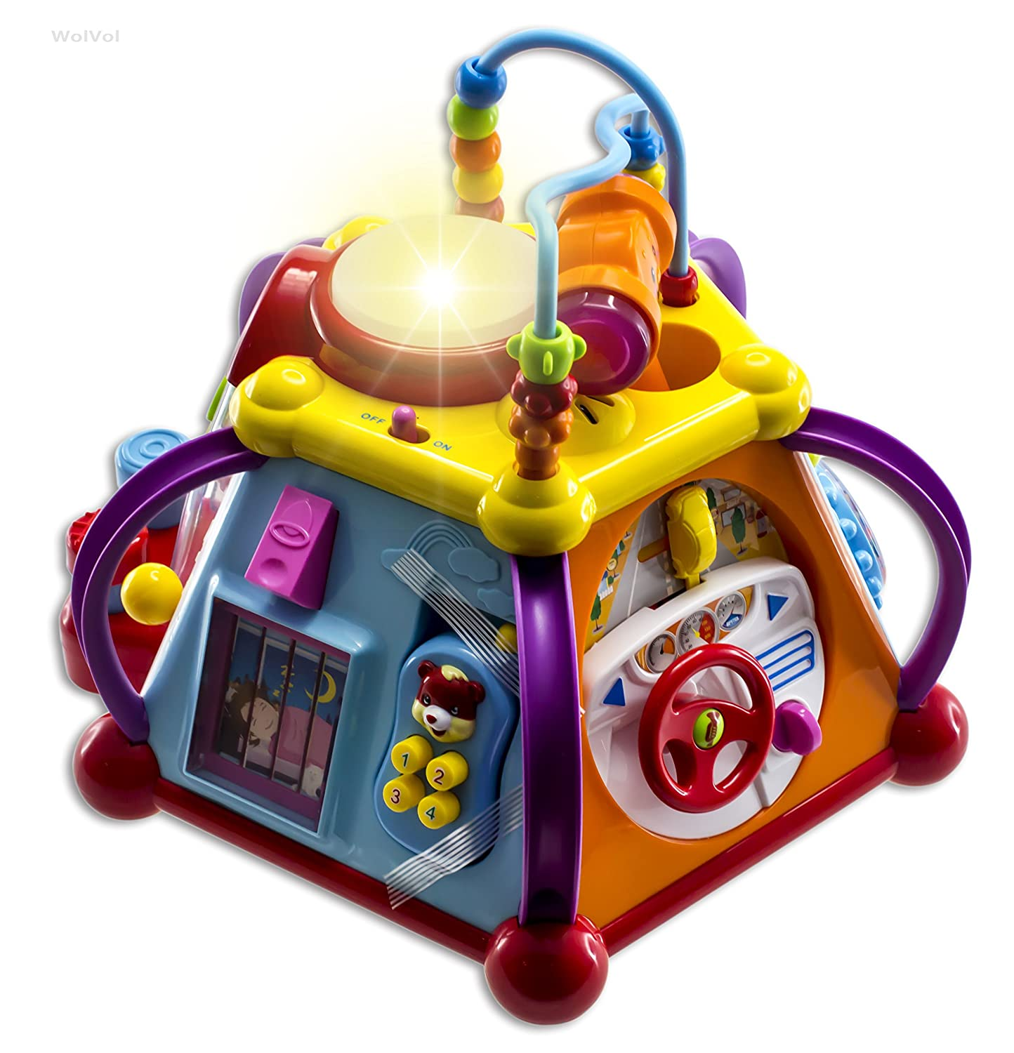 WolVol Musical Activity Cube Play Center with Lights, 15 Functions & Skills - Great Gift Toys for the Little Ones sassy seat doorway jumper 5 toys with musical play mat