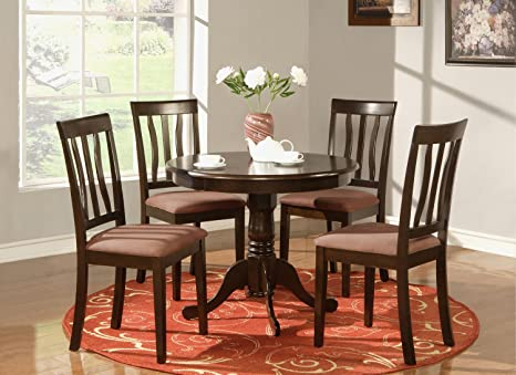 East West Furniture ANTI5-CAP-C 5-Piece Kitchen Table Set, Cappuccino Finish