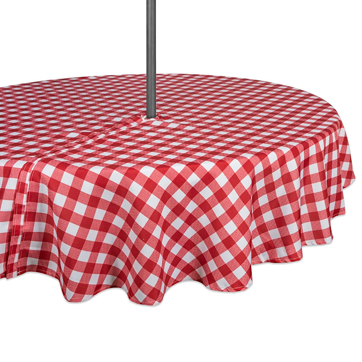 "DII Spring & Summer Outdoor Tablecloth, Spill Proof and Waterproof with Zipper and Umbrella Hole, Host Backyard Parties, BBQs, & Family Gatherings - (60"" Round - Seats 2 to 4) Red Check"