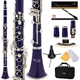 Mendini Purple ABS B Flat Clarinet with 2 Barrels, Case, Stand, Pocketbook, Mouthpiece, 10 Reeds and More, MCT-2P+SD+PB