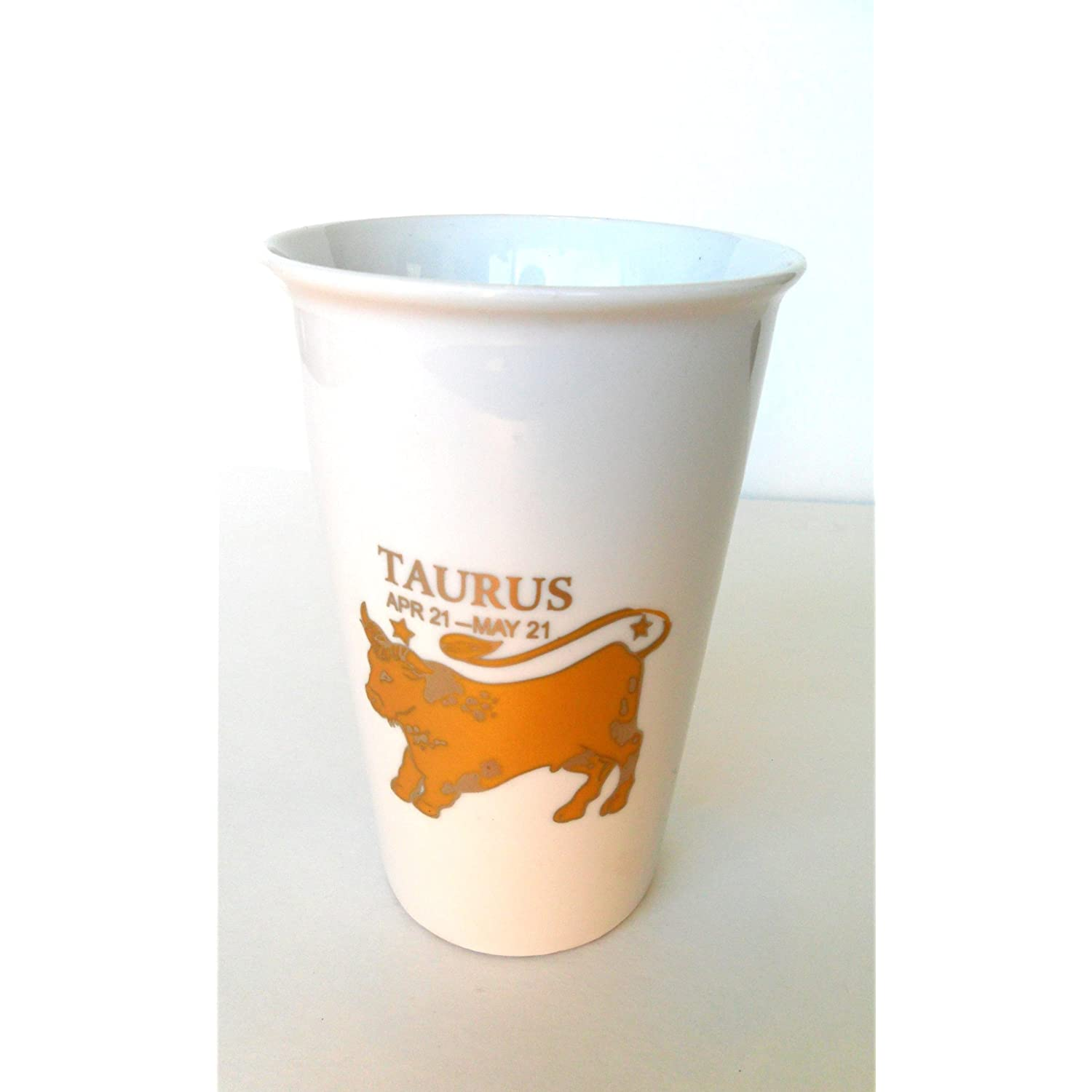 Birthday Gift of Zodiac Sign Taurus Embossed in Gold Travel Coffee Tea Mug Ceramic 15oz