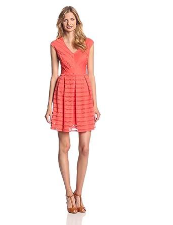 Sandra Darren Women's Sleeveless V-Neck Dress, Hot Coral, 10 at Amazon