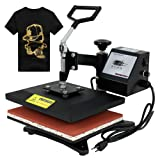 F2C Professional Swing Away 360-degree Rotation Digital Heat Transfer Sublimation T-shirt Heat Press Machine for T shirt Black (12
