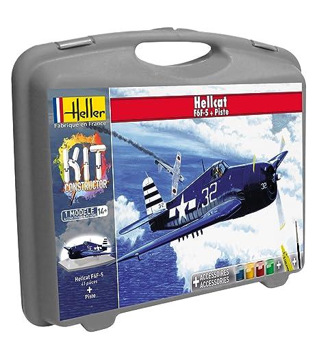 Heller - 60272 - Maquette D'aviation - F6f - 5 Hellcat & Piste - Petite Mallette - 61 Pièces