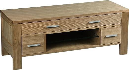 Mueble para televisión 2 cajones, 1 hueco, color roble maciza FSC