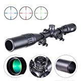 Pinty 4-16X40 Rifle Scope AO Red Green Blue Illuminated Mil Dot with Flip-Open Covers & Sunshade Tube (Color: black, Tamaño: 4-16X40)