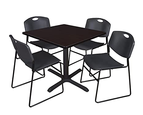 Regency Seating 42-Inch Square Mocha Walnut Laminate Table with Cain Base and 4 Black Zeng Stack Chairs