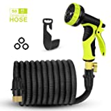 2018 Upgraded Expandable Garden Hose,Best 50 Ft Flexible Water Hose with 9 High Pressure Spray Nozzle,Solid Brass Connector Fittings no Rust&Leak, Double Latex Core&Extra Strength Fabric(50FT) (black)