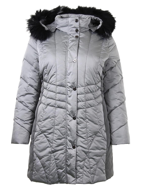 Graue Winterjacke mit Fellkapuze jetzt kaufen
