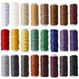 24 Colors Flat Leather Sewing Waxed Cord Threads Each Roll of 13 Yards