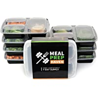 7-Pack Meal Prep Haven 3-Compartment Food Containers with Plate Dividers