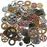 220G Steampunk Gear Cog Wheel Skeleton Clock Watch Pendant Charms by N'joy 8 oz/100PCS, Assorted Colors
