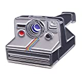 Polaroid One Step Film Camera Enamel Lapel Pin - Mini Vintage Retro Lapel Pins Charm Badges for Photographers and Photography Lovers by Official Exclusive (Color: Grey, White, Rainbow, Tamaño: Medium)