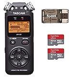 Tascam DR-05 Portable Digital Recorder w/SanDisk 32GB Card (2) & Card Reader