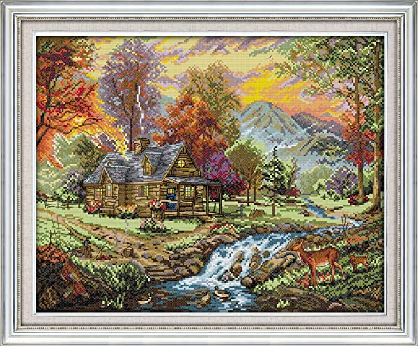 Joy Sunday Stamped Cross Stitch Kits - Counted Cross Stitch Kit, Cross-Stitching Patterns Holiday Villa 11CT Pre-Printed Fabric - DIY Art Crafts & Sewing Needlepoints Kit for Home Decor 24''x19'' (Color: Printed Kits,Holiday Villa)