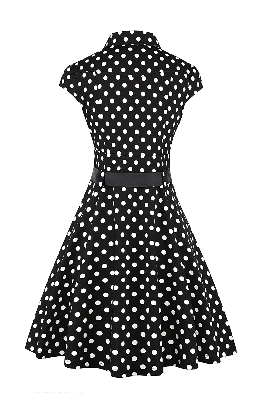 Elf Queen Women's Vintage Polka Dot Cocktail 1950s Tea Party Dress 1