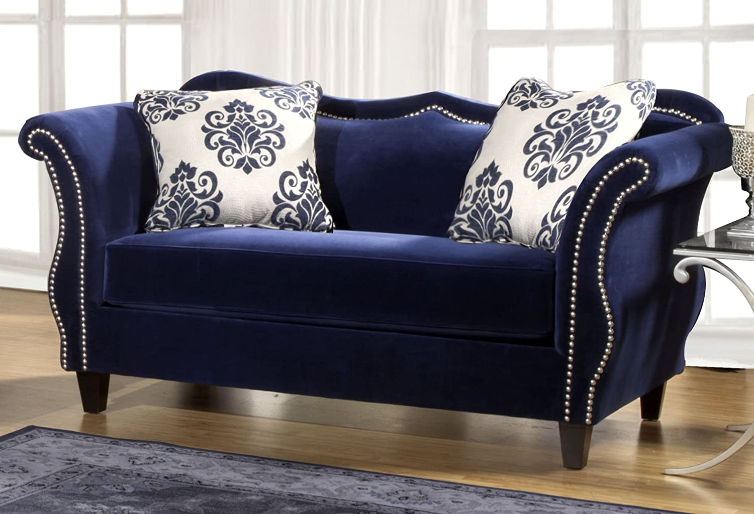 Furniture of America Athena Glamorous Loveseat - Royal Blue