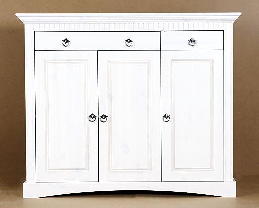 3trg. Kommode aus Kiefernholz weiß lackiert, Schrank, Sideboard