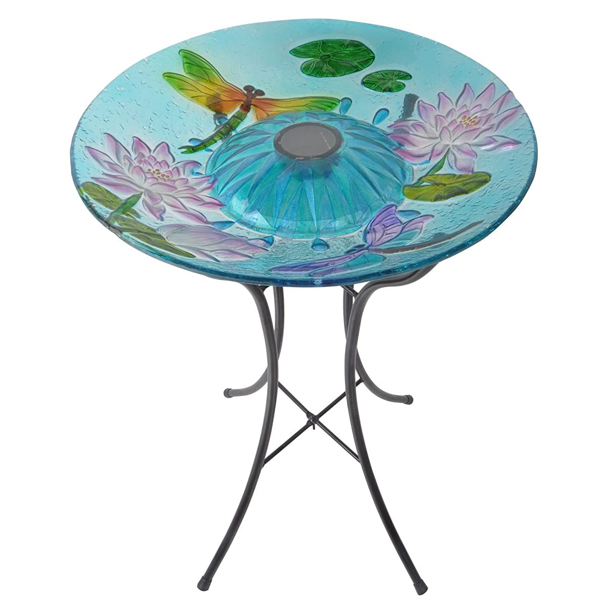 Peaktop Dragonfly with Lotus Glass Plate Bird Bath