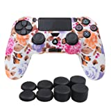 YoRHa Water Transfer Printing Camouflage Silicone Cover Skin Case for Sony PS4/slim/Pro Dualshock 4 controller x 1(flowers) With Pro thumb grips x 8 (Color: flower, Tamaño: water print)