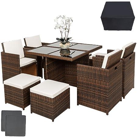 TecTake Ensemble Salon de jardin en Aluminium Résine Tressée Poly Rotin Table Set 4+1+4 + Housse de Protection   Vis en Acier Inoxydable   avec deux Set de Housses - diverses couleurs au choix - (marron noir   no. 401985)