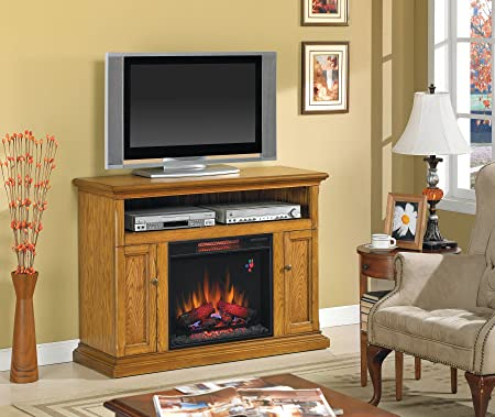 "Cannes TV Stand for TVs up to 50"", Antique Oak  (Electric Fireplace Insert sold separately)"