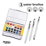 Artify Watercolor Field Sketch Set - 24 Assorted Colors with 3 Brushes - Perfect Watercolor Pan Set for Watercolor Paintings & Cartoons - Mini Travel Watercolor Kit (Tamaño: 24)