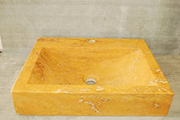 Gold Travertine Stone Vessel Sink. Natural Stone Bathroom Vessel Sink