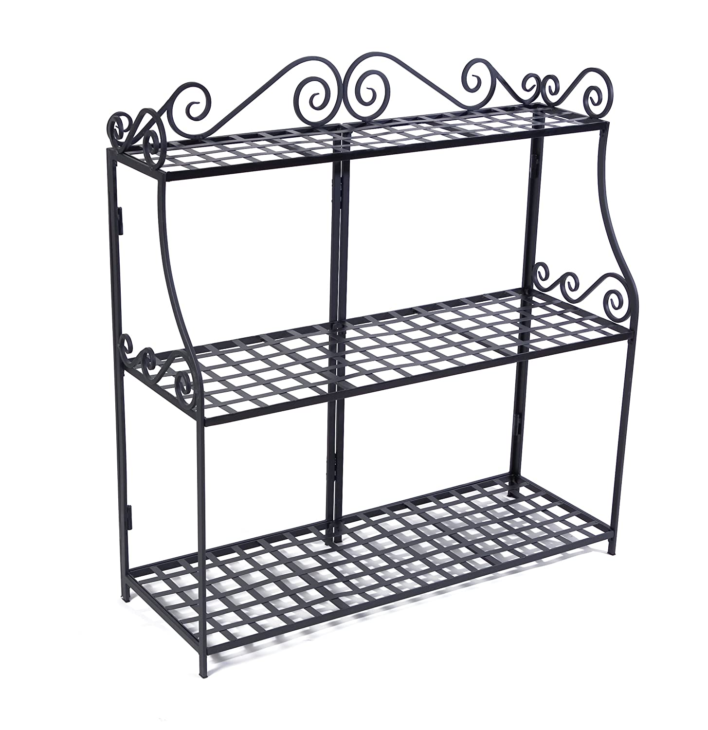 New black latticework forged steel 3 tier plant stand indoor outdoor patio yard ebay - Steel pot plant stands ...