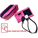EMI # 300 Deluxe Aneroid Sphygmomanometer Blood Pressure Monitor Set with Adult Cuff and Carrying Case and Includes Basic Stethoscope (Pink)