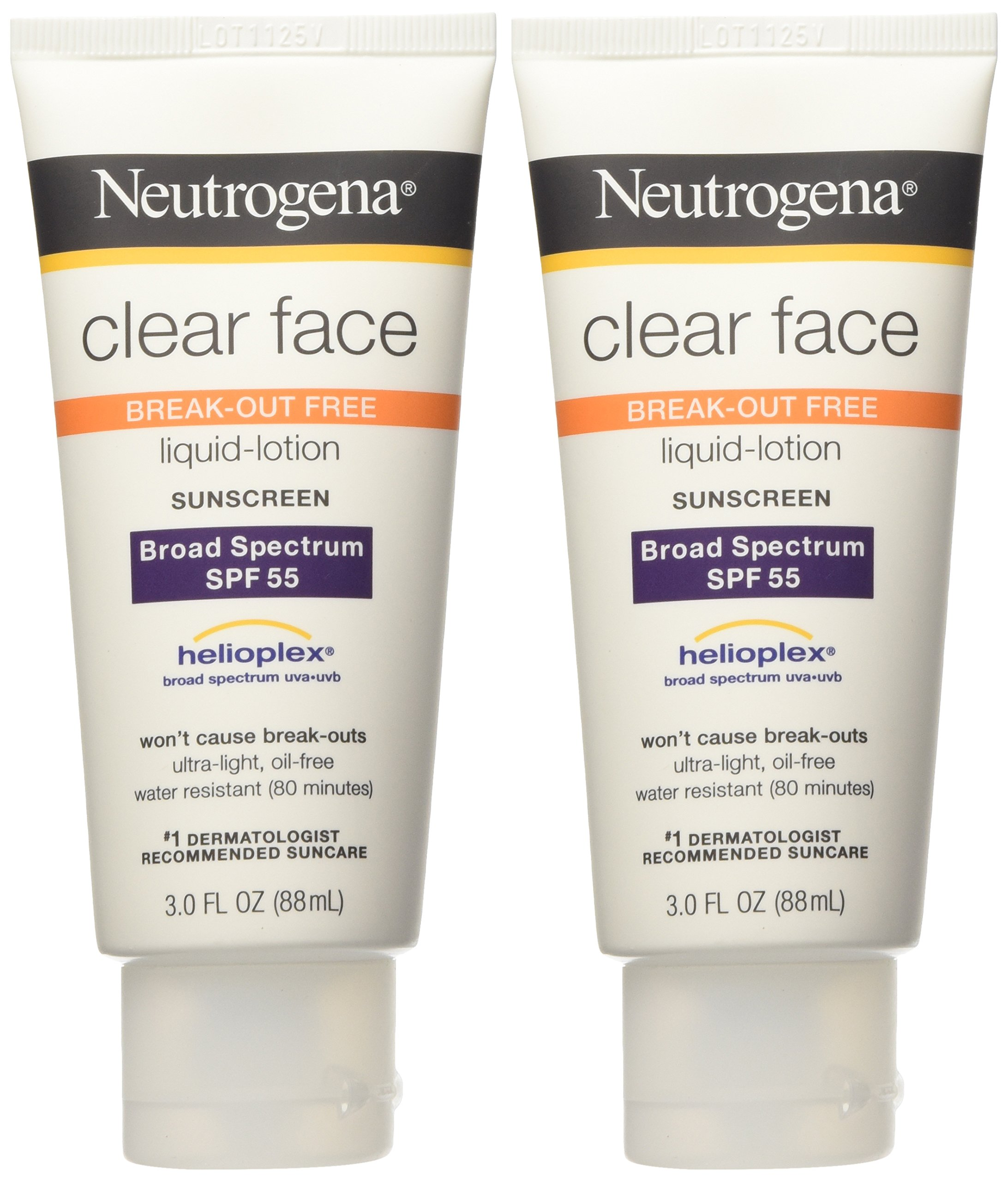 galleon neutrogena clear face break out free liquid lotion sunscreen spf 55 3 oz pack of 2. Black Bedroom Furniture Sets. Home Design Ideas
