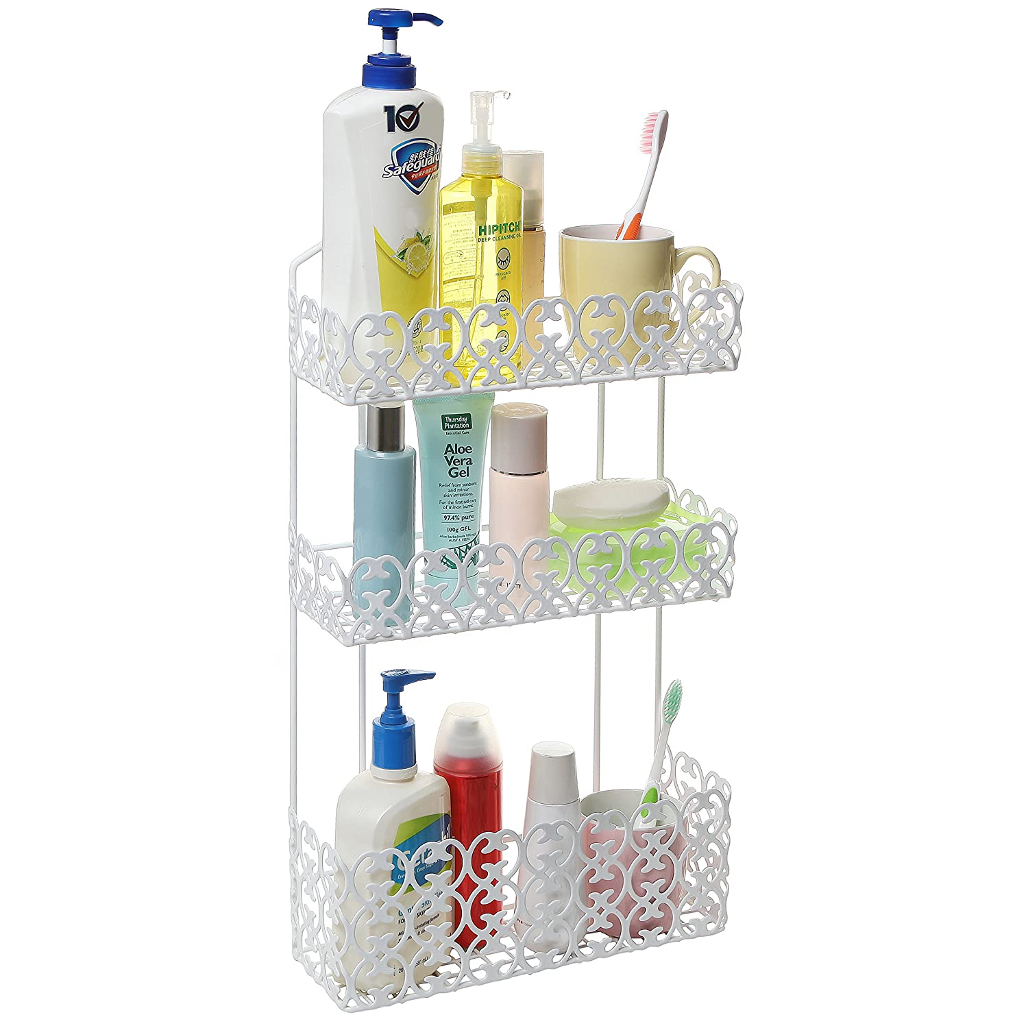 bathroom shelves decorative wall mounted 3 tier shelf baskets kitchen
