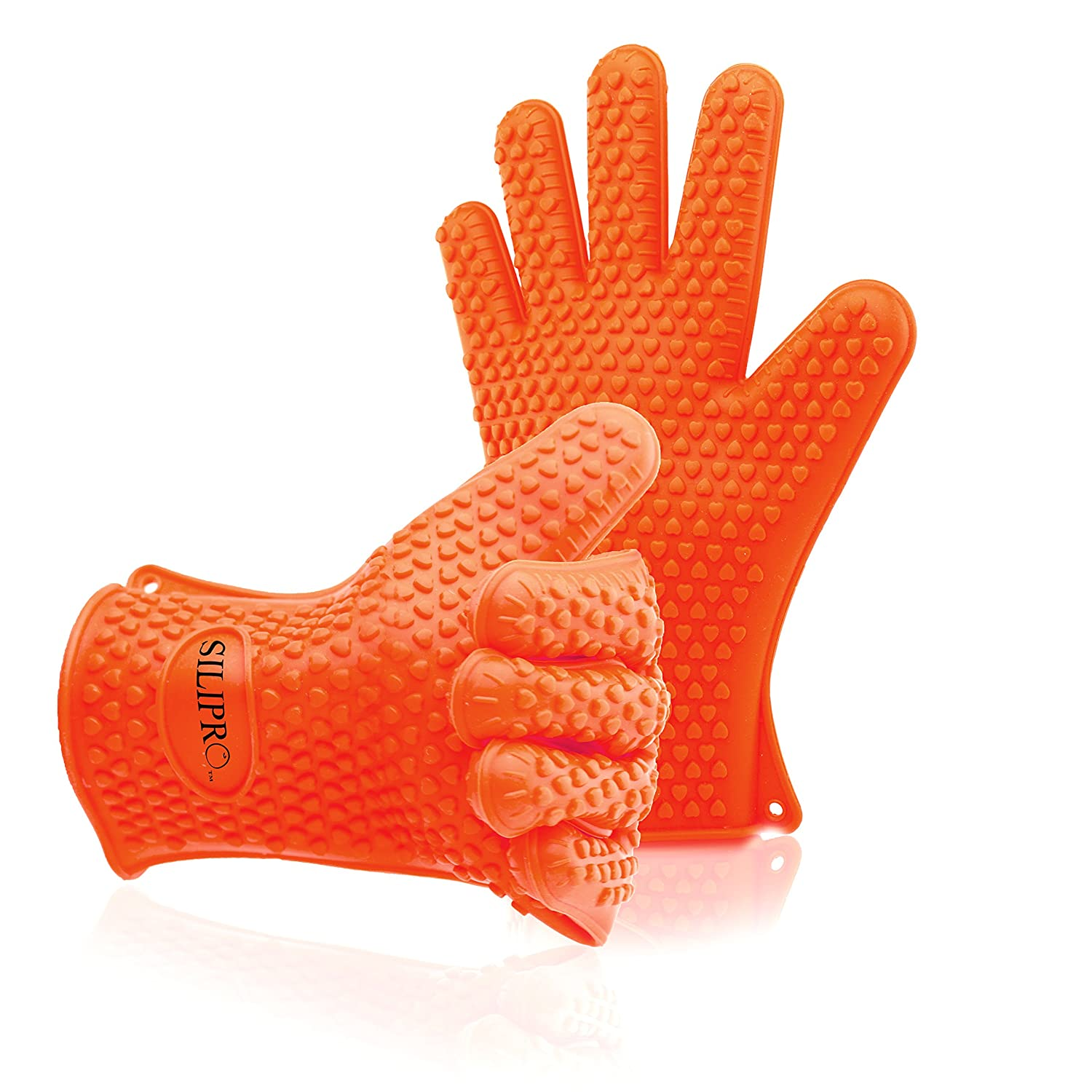 #1 Silicone bbq Gloves - Heat Resistant - High Temperature Waterproof Insulated Kitchen Oven Mitts for BBQ - Long Silicone Rubber Grip Best for Grill - Pot Holders Two Handed for Men & Women - One Size Fit - One Pair - [Orange] 1pair 932f new design bbq grill red silicone gloves heat resistant bbq gloves microwave oven glovesen 407