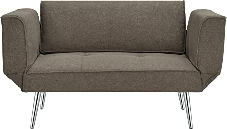 DHP Euro Futon Couch, Full, Gray Linen